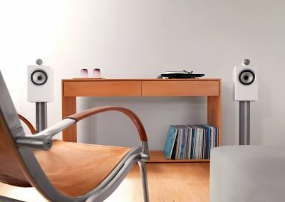 705 S2 Satin White on Stands with Record Player